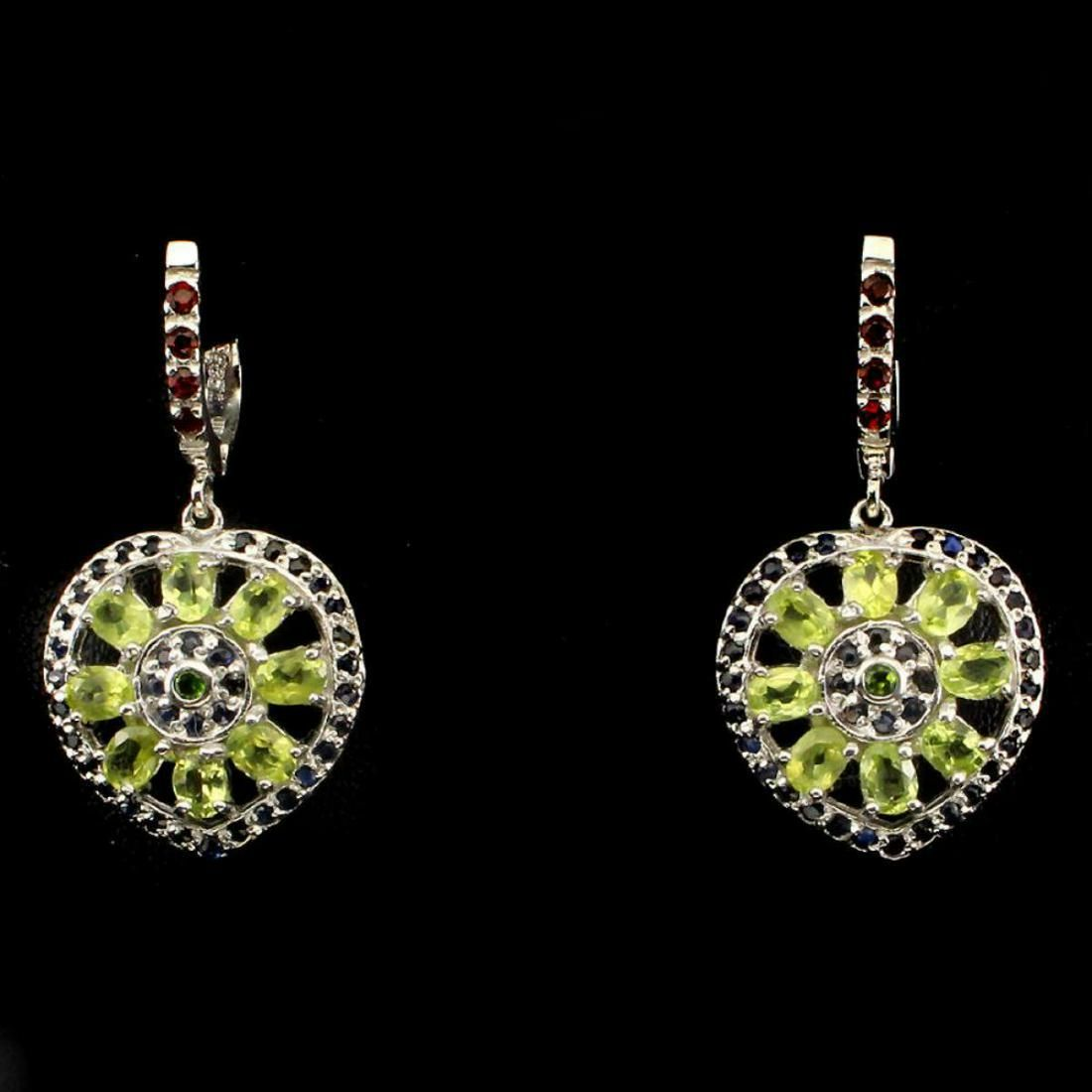 Natural Peridot Chrome Diopside Sapphire Garnet Earring