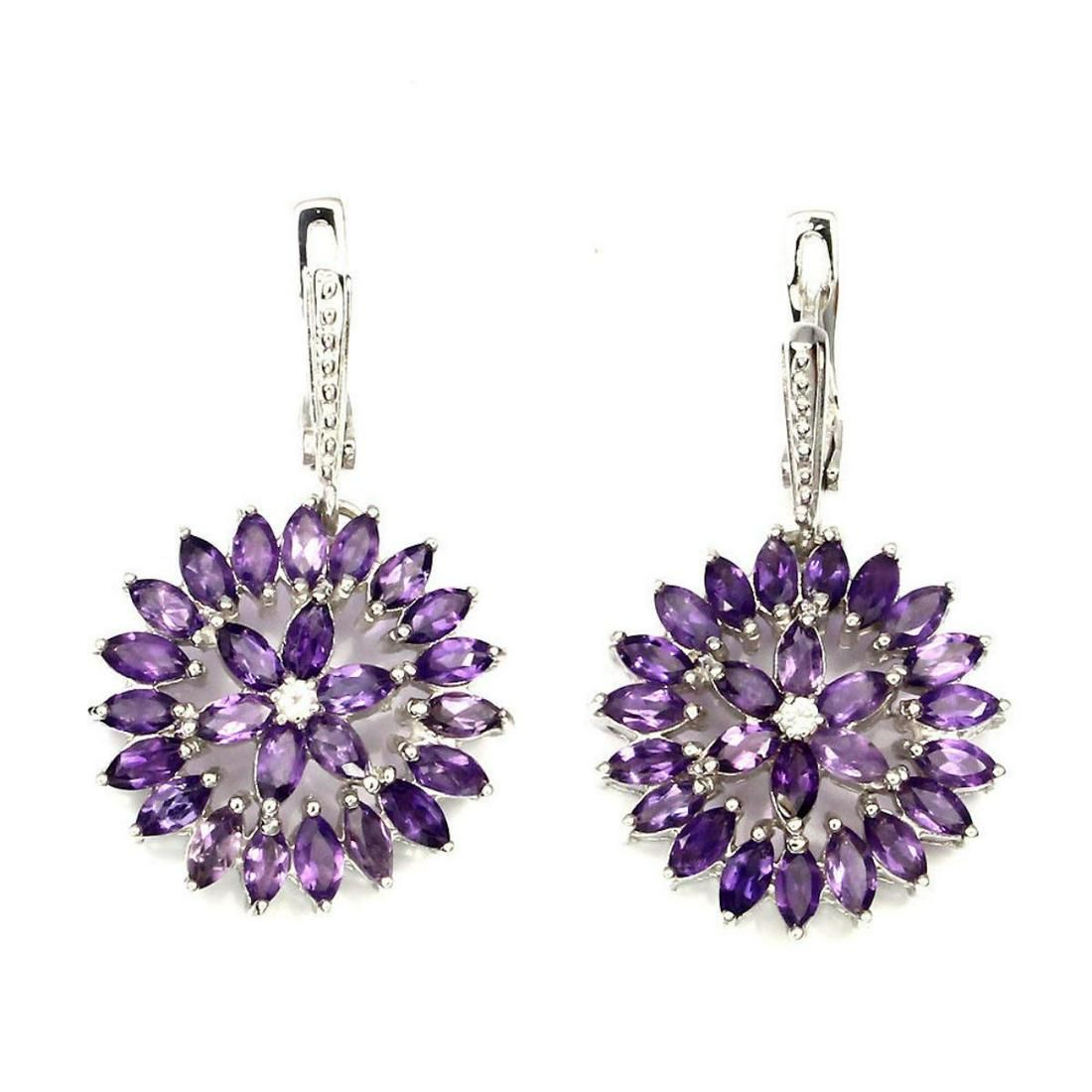 Natural Top Rich Purple Amethyst Earrings