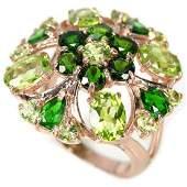 Natural NATURAL GREEN CHROME DIOPSIDE  PERIDOT Ring