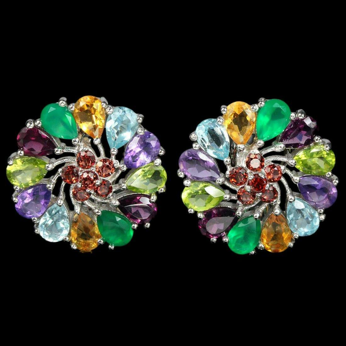 Natural Multi- Gemstones Earrings