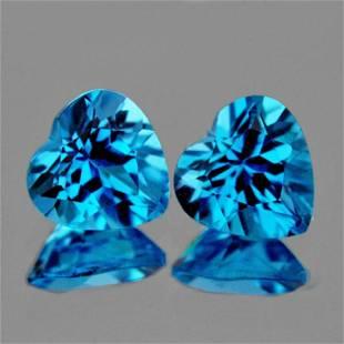 Natural Swiss Blue Topaz Heart Pair 900 MM AAA