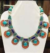 Tibet Hand Made Turquoise Coral Lapis Lazuli Necklace