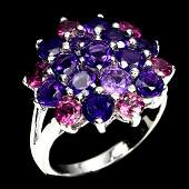 Natural Round Amethyst Rhodolite Garnet Ring