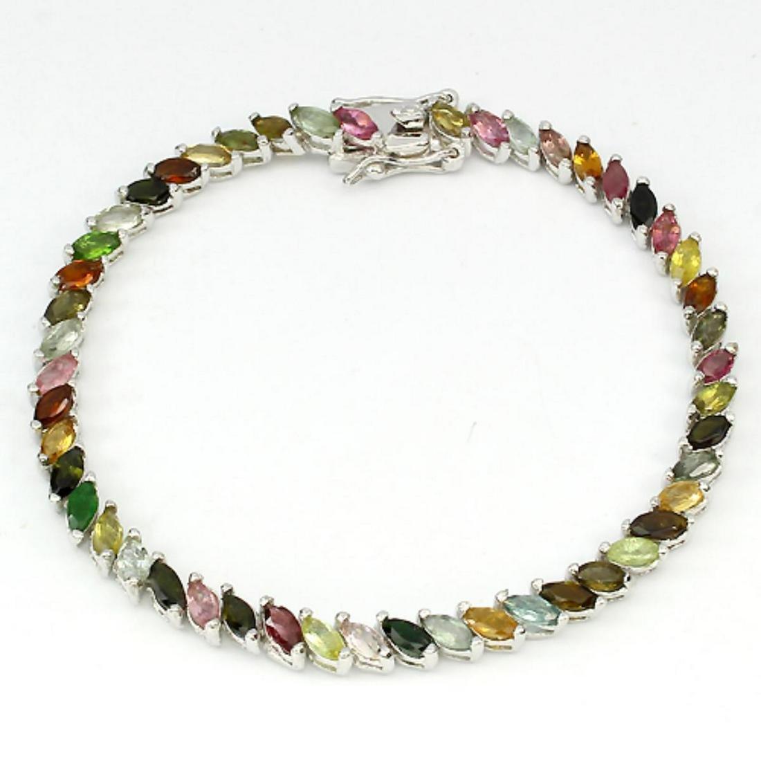 Natural Fancy Color Marquise Tourmaline Bracelet