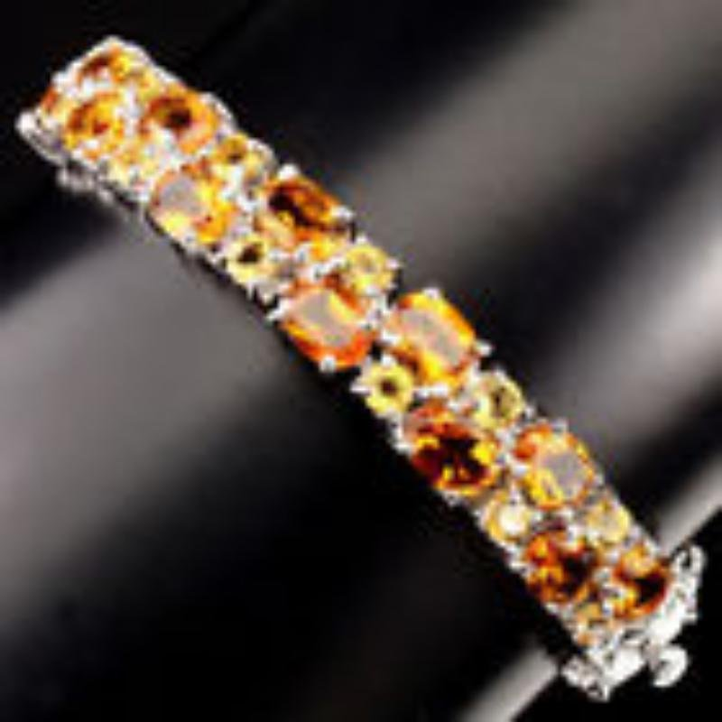 Gracefully 7x5mm Top Rich Yellow Citrine Bangle