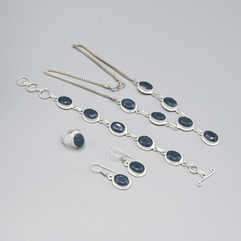 Lovely 4 Piece Blue Sapphire Jewelry Set