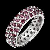 Natural Unheated Round Rhodolite Garnet Ring