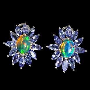 Natural Ethopian Opal & Tanzanite Earrings