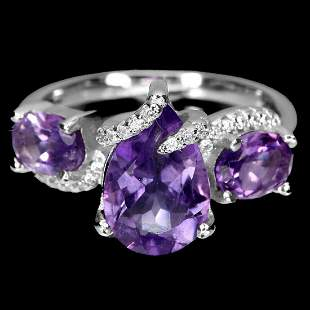Natural Unheated Pear Amethyst 12x8 MM Ring