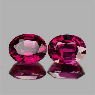 Natural Raspberry Red Pink Rhodolite Garnet Pair - FL