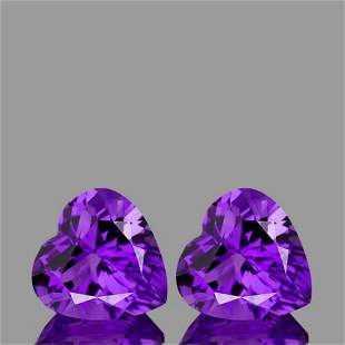 Natural Purple Amethyst Heart Pair {Flawless-VVS1}