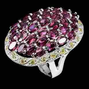 Natural Rhodolite Garnet & Sapphire  Ring