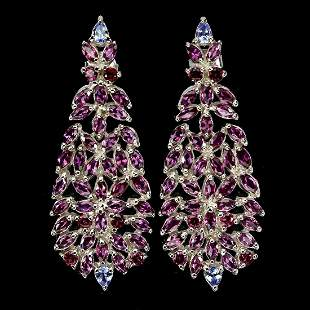 Natural Rhodolite Garnet & Tanzanite Earrings
