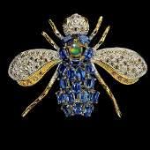 Natural Opal Rhodolite Sapphire Bee Brooch