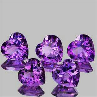 Natural Purple Amethyst Hearts 5 Pcs{Flawless-VVS1}