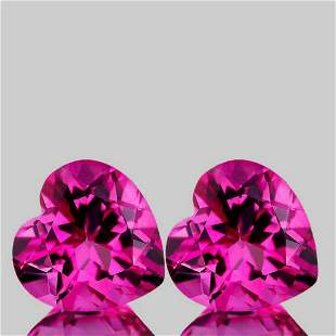 Natural Heart Hot Pink Topaz Pair{Flawless-VVS1}