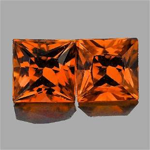 Natural  Princess Cut Orange Sapphire Pair - FL