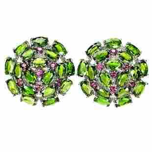 Natural Chrome Diopside & Rhodolite Garnet Earrings