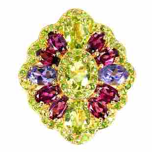 Natural Peridot, Chrome Diopside, Garnet Ring
