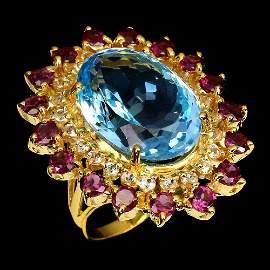 Natural Handmade Blue Topaz 23.46 Ct & Garnet Ring
