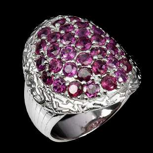 Natural Stunning Rhodolite Garnet Ring