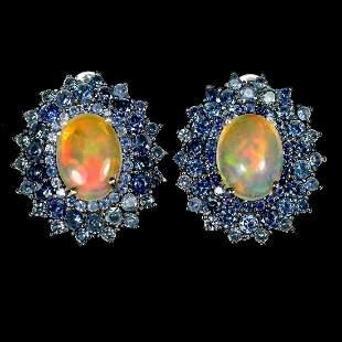 Natural Unheated Opal & Sapphire Earrings