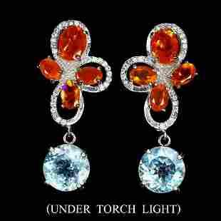 Natural  Orange Fire Opal & Topaz Earrings