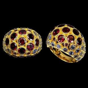 Natural Rhodolite Garnet & Tanzanite Ring