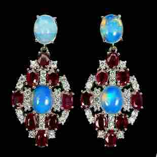 Natural Ethopian White Opal and Red Ruby Earrings