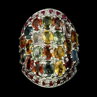 Natural  Fancy Sapphire & Ruby 76.74 Cts Ring