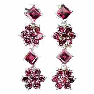 Natural Stunning Rhodolite Garnet Earrings