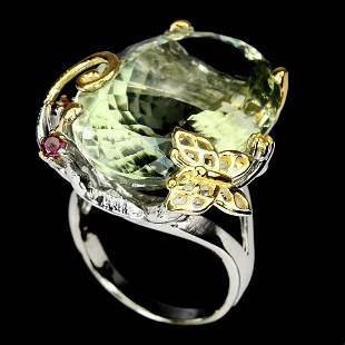 Natural Handmade Green Amethyst 30.11ct Rhodolite Ring
