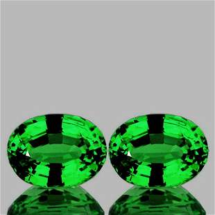 Natural Chrome Green Tsavorite Garnet Pair {Flawless}