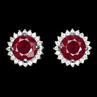 Natural stunning Round Red Ruby Earrings