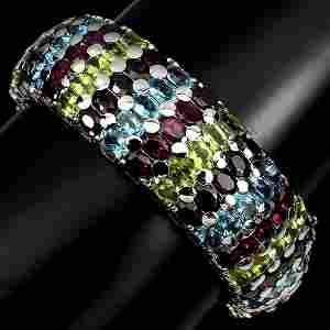 Natural Rhodolite Garnet & Multi Gems 300 Cts Bangle