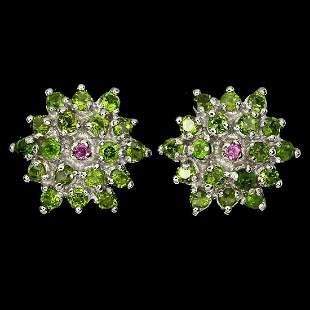 Natural Chrome Diopside Rhodolite Garnet Earrings