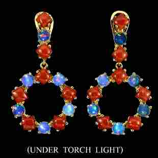 Unheated White Opal & Italian Coral Earrings