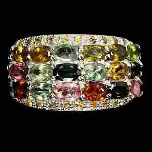 Natural Tourmaline Multi-Color Sapphire Ring