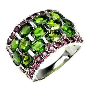 Natural Chrome Diopside & Rhodolite Garnet Ring
