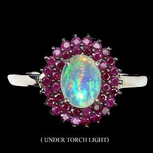 Natural Unheated White Opal & Ruby Ring