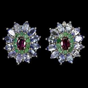 Natural Rhodolite Garnet Emerald Tanzanite Earrings