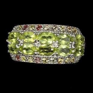 Natural  Peridot & Sapphire Ring