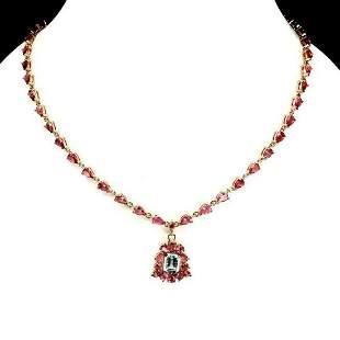 Natural Sky Blue Topaz & Pink Tourmaline Necklace