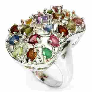 Natural Multi Gemstone Ring