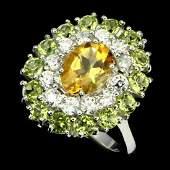 Natural Citrine Peridot 25 Carats Ring