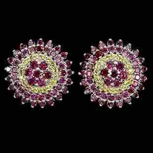 Natural Rhodolite Garnet & Sapphire Earrings