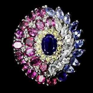 Natural Sapphire Amethyst Aquamarine Garnet Ring