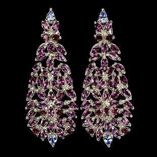 Natural Rhodolite Garnet & Tanzanite Earrings