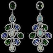 Natural Tanzanite, White Opal, Chrome Diopside Earrings