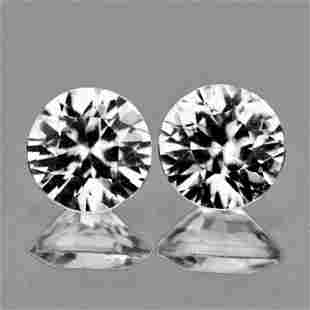 Natural Diamond Cut Cambodian White Zircon Pair